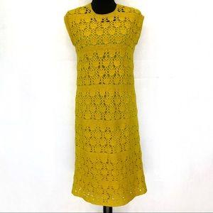 Vintage 50's Macy's Associates yellow knit dress